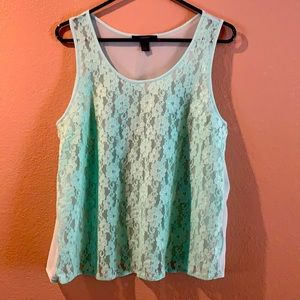 Sheer lace front tank top